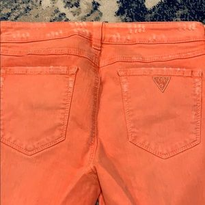 Guess Jeans - Guess distressed women's orange skinny jeans